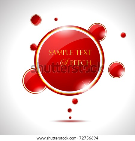 Elegant Glossy Red Speech Bubble - stock vector