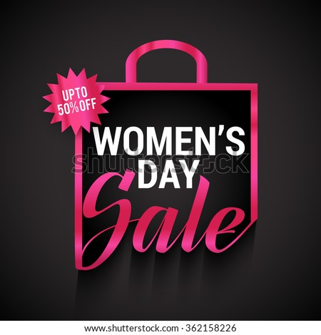 Elegant glossy sale and discount offer tags or labels for International Women's Day celebration. - stock vector