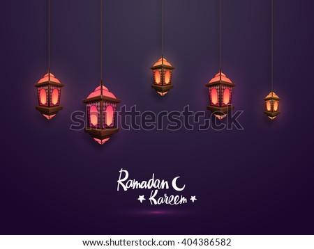 Elegant glowing traditional lanterns hanging on purple background for Holy Month of Muslim Community, Ramadan Kareem celebration. - stock vector