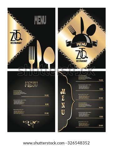 Elegant gold and black restaurant menu - stock vector