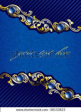 Elegant gold and blue background with gems (vector); a JPG version is also available - stock vector