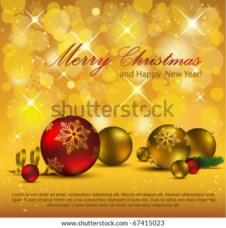 Elegant Gold Christmas Background. Eps10. - stock vector