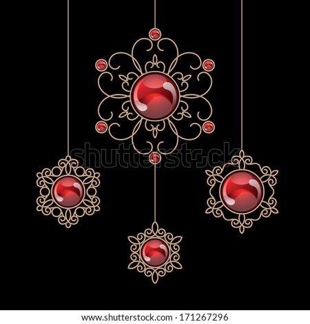 Elegant gold jewelry decoration, vector set of ruby pendants on black - stock vector