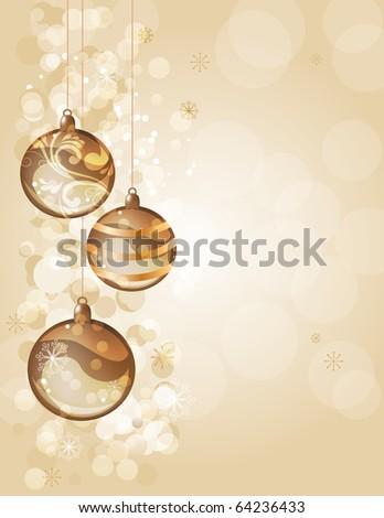 Elegant golden christmas background with balls - stock vector