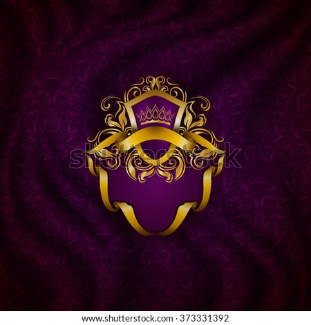 Elegant golden frame with floral elements, filigree ornament, gold crown, shield, ribbon, place for text on purple drapery fabric. Luxury ornate background in vintage style. Vector illustration EPS 10 - stock vector