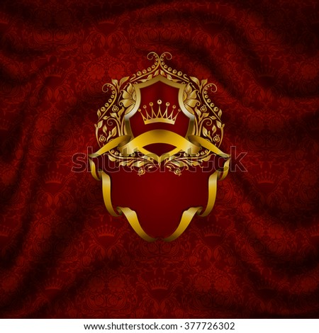 Elegant golden frame with floral elements, filigree ornament, gold crown, shield, ribbons, place for text on red drapery fabric. Luxury ornate background in vintage style. Vector illustration EPS 10. - stock vector
