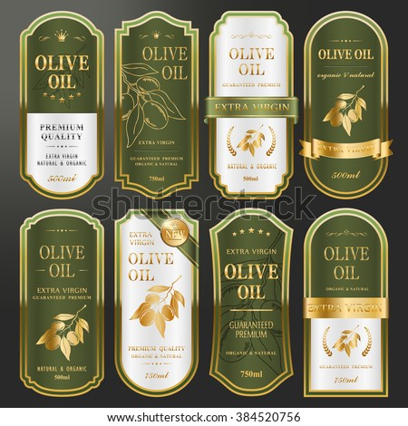 elegant golden labels collection set for premium olive oil  - stock vector