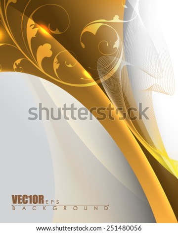 elegant golden metallic silhouette transparent foliage elements wedding invitation background business card eps10 vector - stock vector