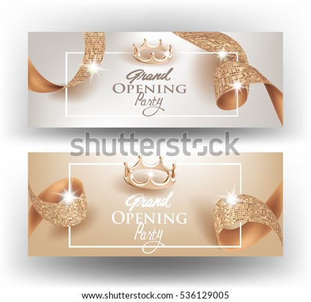 Elegant grand opening invitation cards textured stock vector elegant grand opening invitation cards with textured curly beige ribbons and gold crowns vector illustration stopboris Gallery