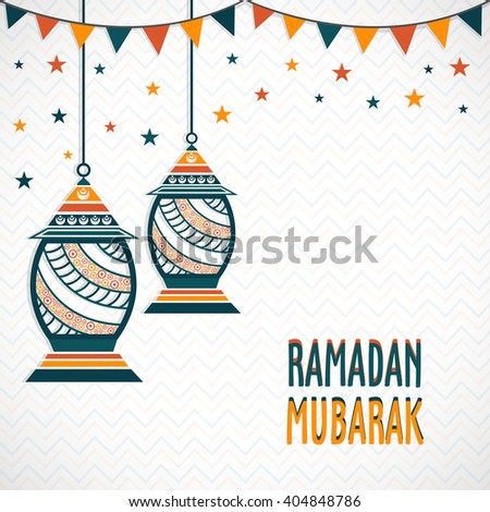 Elegant greeting card design decorated with floral hanging lamps for Holy Month of Muslim Community, Ramadan Mubarak celebration. - stock vector
