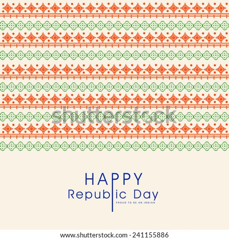Elegant greeting card design in national flag colors for Happy Indian Republic Day celebration. - stock vector
