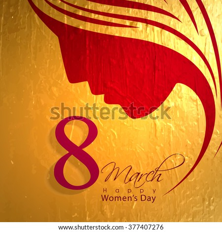 Elegant greeting card design with creative illustration of a woman's face on golden background for 8 March, Happy Women's Day celebration. - stock vector