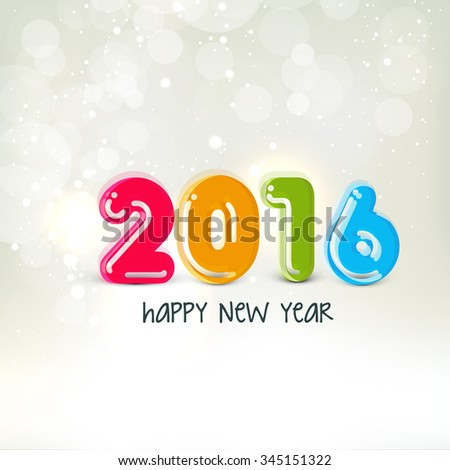 Elegant greeting card design with glossy colorful text 2016 on shiny background for Happy New Year celebration.