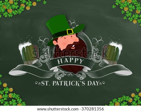 Elegant greeting card design with illustration of Leprechaun on shamrock leaves decorated background for Happy St. Patrick's Day celebration. - stock vector