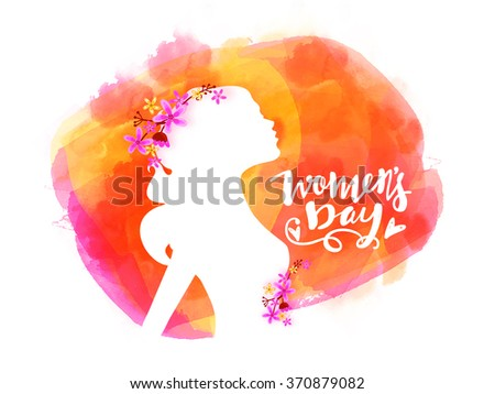 Elegant greeting card design with illustration of young girl on colorful background for Happy Women's Day celebration. - stock vector