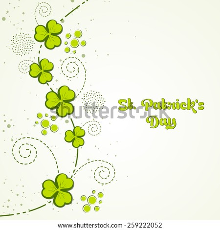 Elegant greeting card design with Irish lucky green clover leaves for Happy St. Patrick's Day celebration.  - stock vector