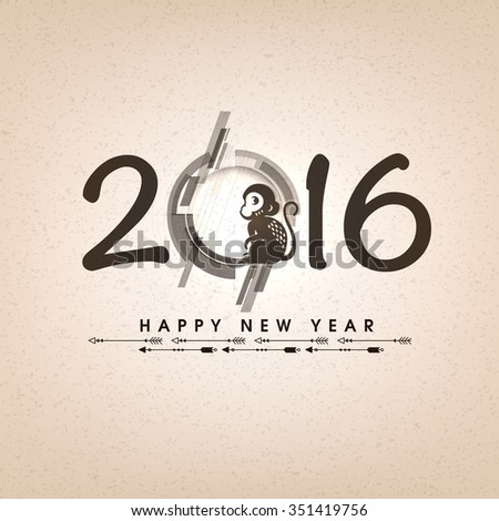 Elegant greeting card design with stylish text 2016 for Year of the Monkey celebration. - stock vector