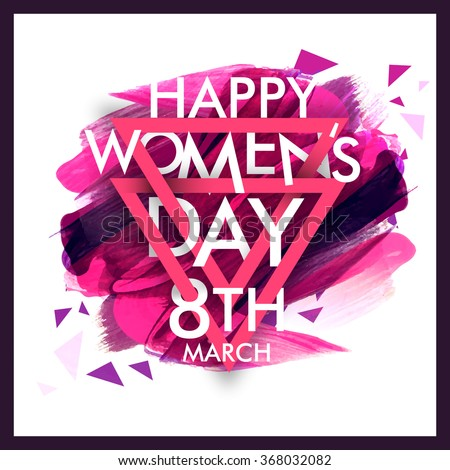 Elegant greeting card design with stylish text 8th March, Happy Women's Day on colorful paint stroke background. - stock vector