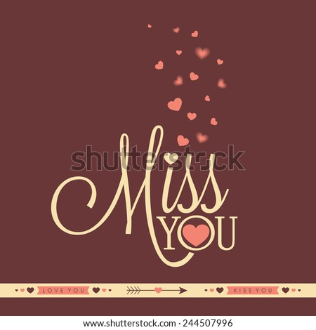 Elegant greeting card design with text Miss You and pink hearts for Valentines Day celebration. - stock vector