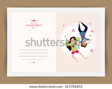Elegant greeting card design with young couple listening music for Happy Valentine's Day celebration. - stock vector