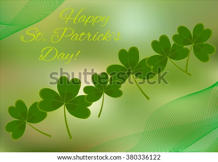 Elegant greeting card with clover for St. Patrick Day