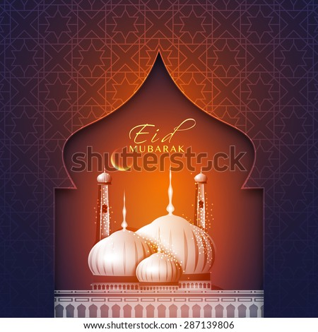 Elegant greeting card with creative beautiful mosque and crescent moon for muslim community festival, Eid Mubarak celebration. - stock vector