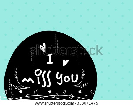 Elegant greeting card with stylish text I Miss You for Happy Valentine's Day celebration. - stock vector