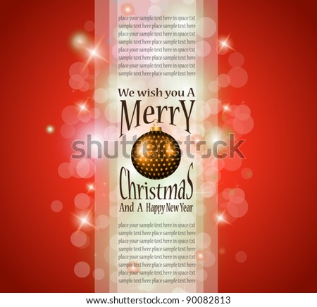 Elegant greetings background for flyers or brochure for Christmas or New Year Events . - stock vector