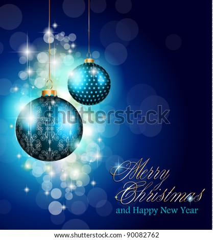 Elegant greetings background for flyers or brochure for Christmas or New Year Events with a lot of stunning Colorful baubles. - stock vector