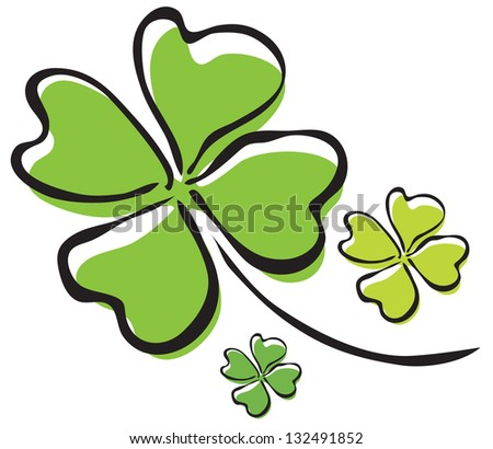 elegant hand drawn four leaf clover, symbol of luck, for your design - stock vector