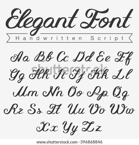 Elegant Handwritten Script Font design vector. Calligraphy Lettering typeface letters Uppercase Lowercase - stock vector
