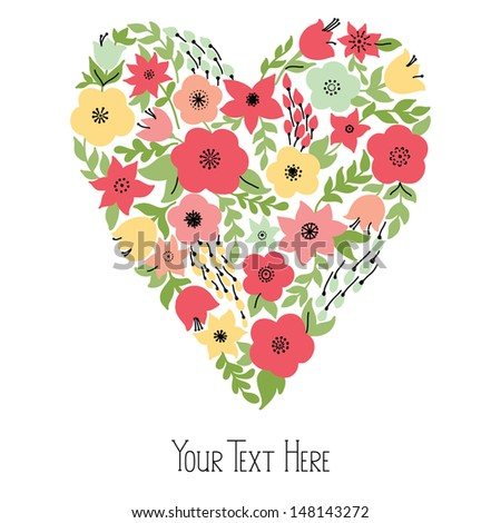 Elegant heart with yellow and pink flowers, vector illustration - stock vector