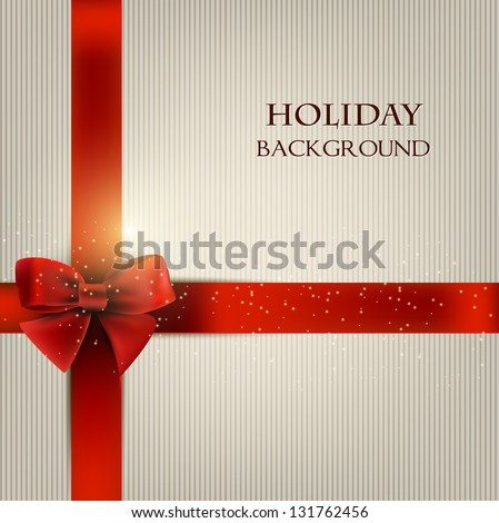 Elegant holiday background with red bow and space for text. Vector illustration - stock vector