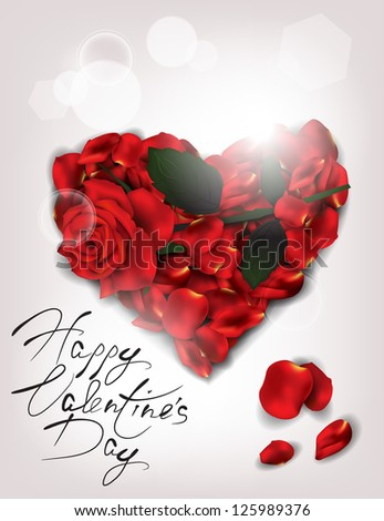 Elegant holiday card with realistic rose and rose petalsPrint - stock vector