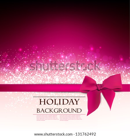 Elegant  Holiday Red background with bow and place for text. Vector Illustration. - stock vector