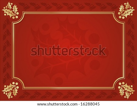 Elegant Holly Trimmed Background - stock vector
