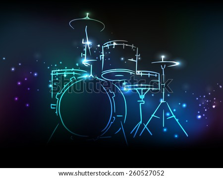 Elegant illustration of drum set with neon effect on shiny colorful background. - stock vector