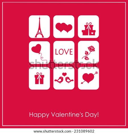 Elegant  illustration with  decorative elements  for design Valentine's Day - stock vector