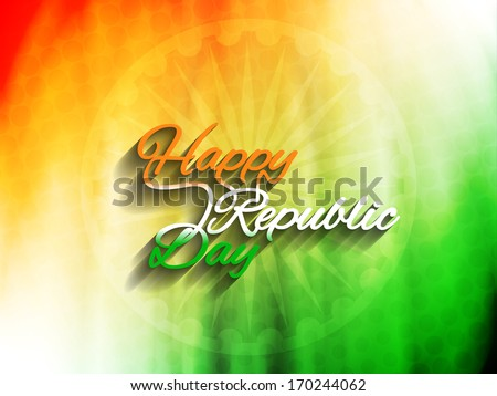 Elegant Indian flag theme background with beautiful text design of Happy Republic day. vector illustration - stock vector