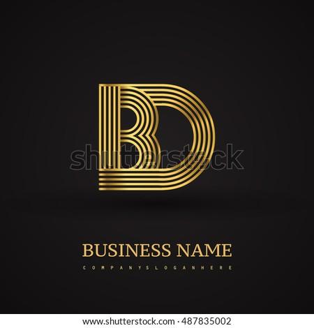 Elegant Initial Logo Bd Letter Gold Stock Vector 487835002