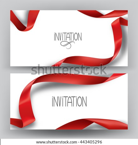 Elegant invitation banners with silk red ribbons - stock vector