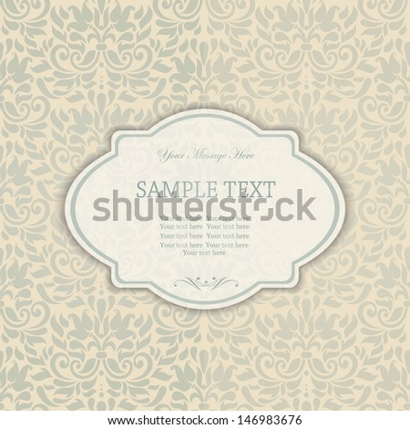 Elegant invitation card in classical style  - stock vector
