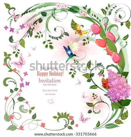 elegant invitation card with spring flowers and bird for your design - stock vector