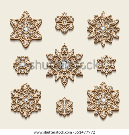 Elegant jewelry pendants, vintage diamond gold decoration, vector set of filigree circle ornaments on white, eps10