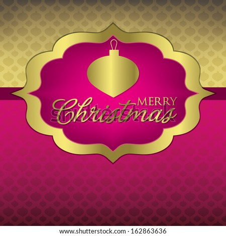 Elegant Label Christmas card in vector format. - stock vector