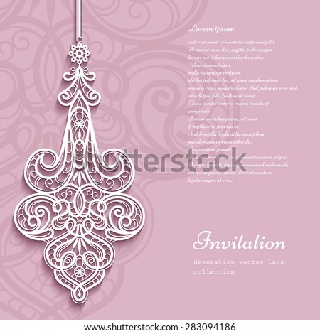 Elegant lace pendant on ornamental pink background, lacy feather decoration, greeting card, wedding invitation or announcement template, vector eps10 - stock vector