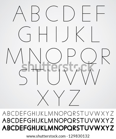 Elegant light font, vector alphabet letters design. Extra light, light, regular and bold versions included. - stock vector