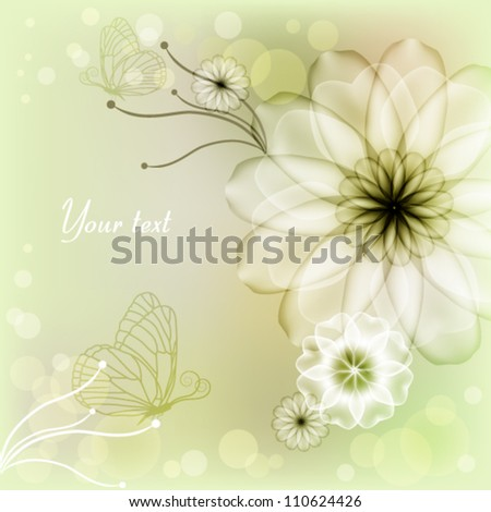 Elegant light green background with flowers and butterflies - stock vector