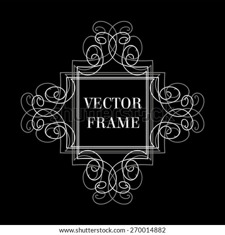 Elegant line art hand-drawn frame, monogram vector illustration - stock vector