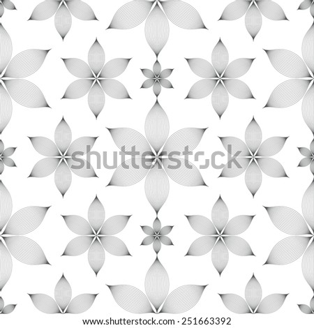 elegant linear floral seamless pattern over white background - stock vector